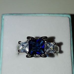 Silver and gold Blue Sapphire gemstone ring
